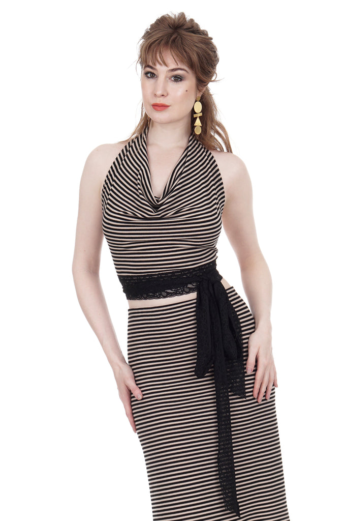 whisper stripe wrap top - Poema Tango Clothes: handmade luxury clothing for Argentine tango