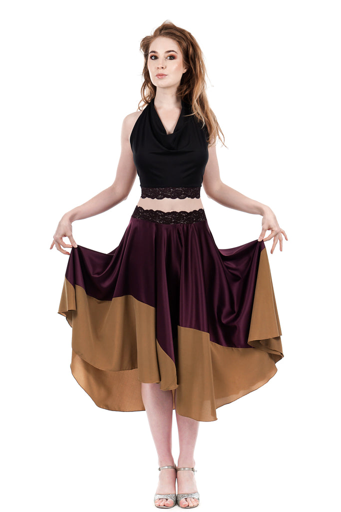 wine and mustard circle skirt - Poema Tango Clothes: handmade luxury clothing for Argentine tango