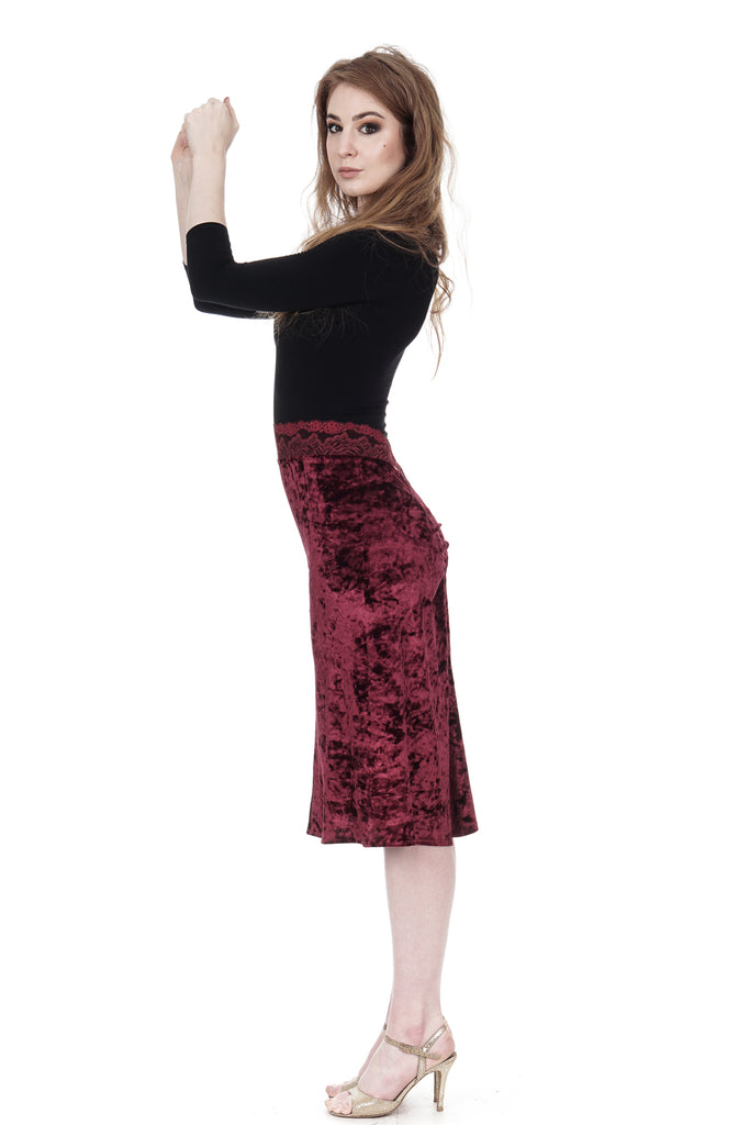wine crushed velvet ruched skirt - Poema Tango Clothes: handmade luxury clothing for Argentine tango