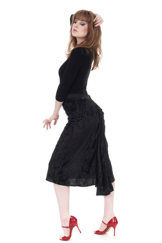 witchy velour ruched skirt