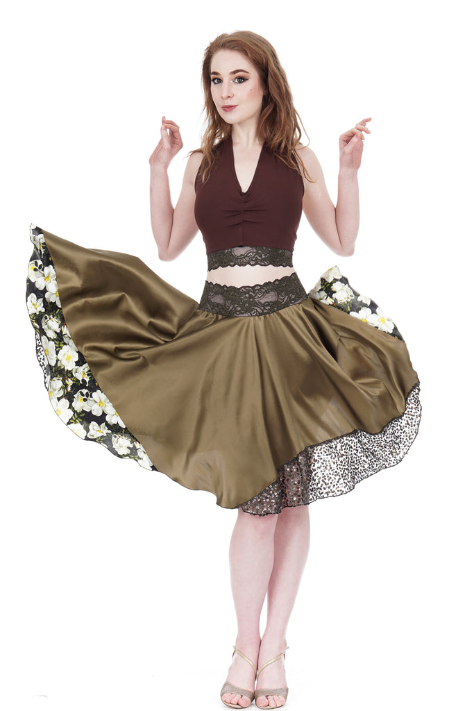 wood nymph skirt - Poema Tango Clothes: handmade luxury clothing for Argentine tango