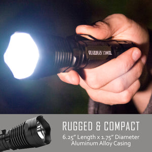 Guardian 1300XL Rechargeable Tactical Flashlight - Professional Series with Remote Pressure Switch & BrightStart Technology