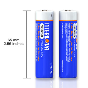 Internova 18650 Battery, Li-ion Rechargeable, 2600mAh 3.7V Button Top High Performance Battery for LED Rechargeable Flashlights and Lanterns, 2 Pack