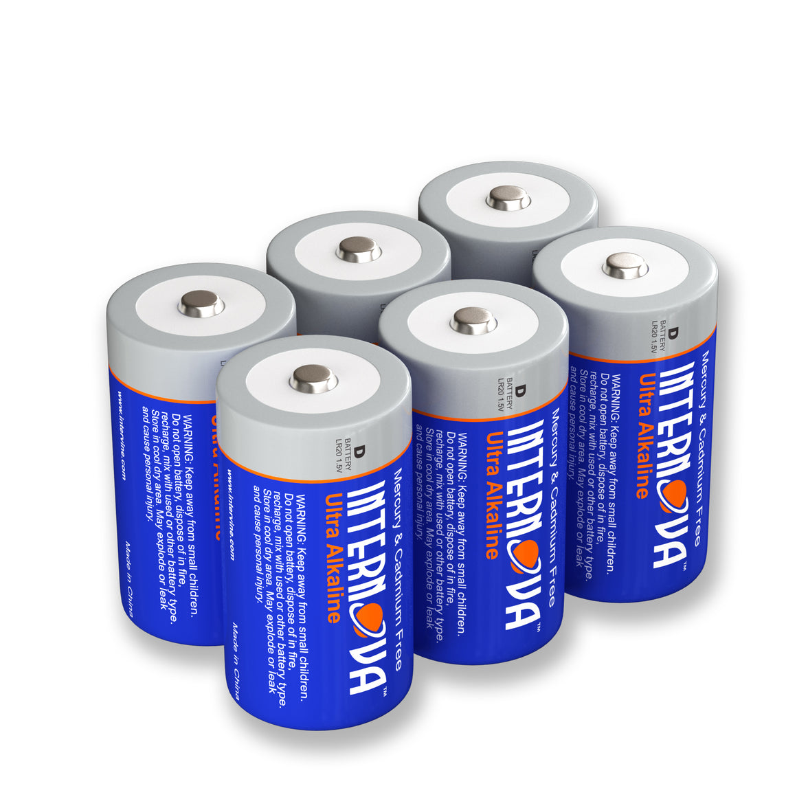 Internova Ultra Alkaline D Batteries, LR20 1.5V Cell High Performance, 6 Pack