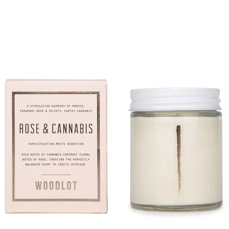Woodlot 8 oz Coconut Wax Candle in Rose & Cannabis - The Green Kiss