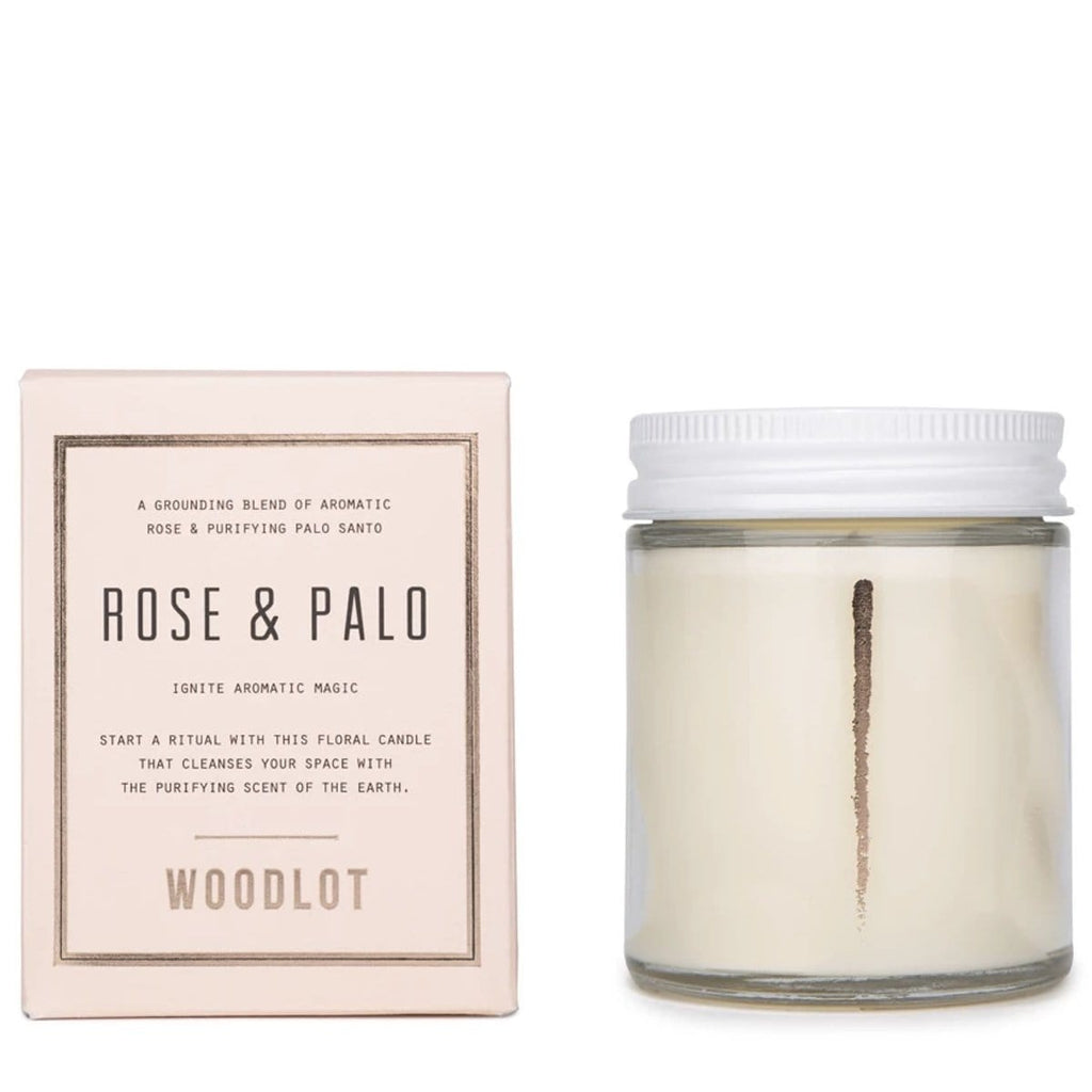 Woodlot 8 oz Coconut Wax Candle in Rose & Palo - The Green Kiss