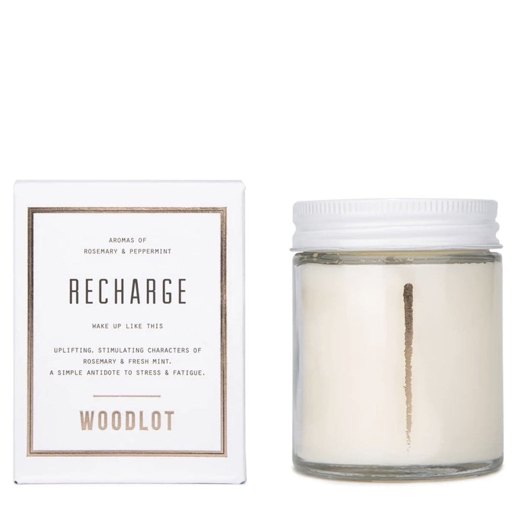 Woodlot 8 oz Coconut Wax Candle in Recharge - The Green Kiss