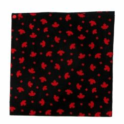 Bandana Maple Leaf Pattern (Red on Black)-O Canada