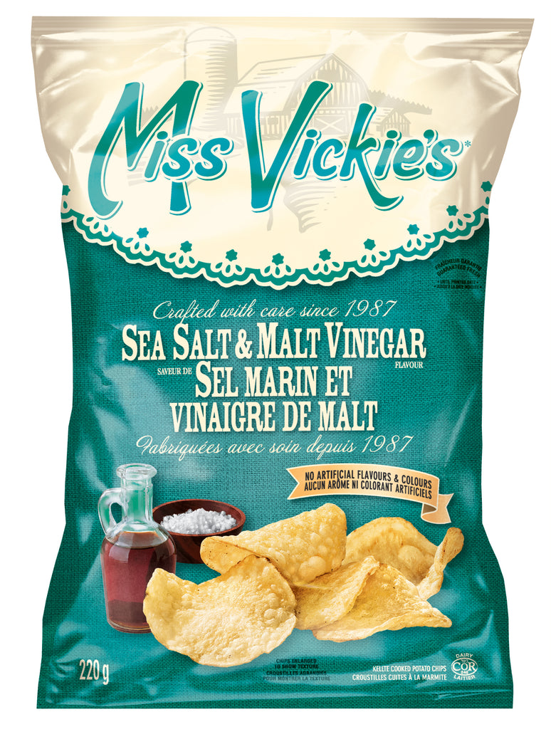 Miss Vickie's Seat Salt & Malt Vinnegar Chips 220g case of 16-O Canada