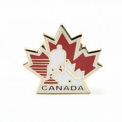 Lapel Pin - Hockey Player in Leaf-O Canada