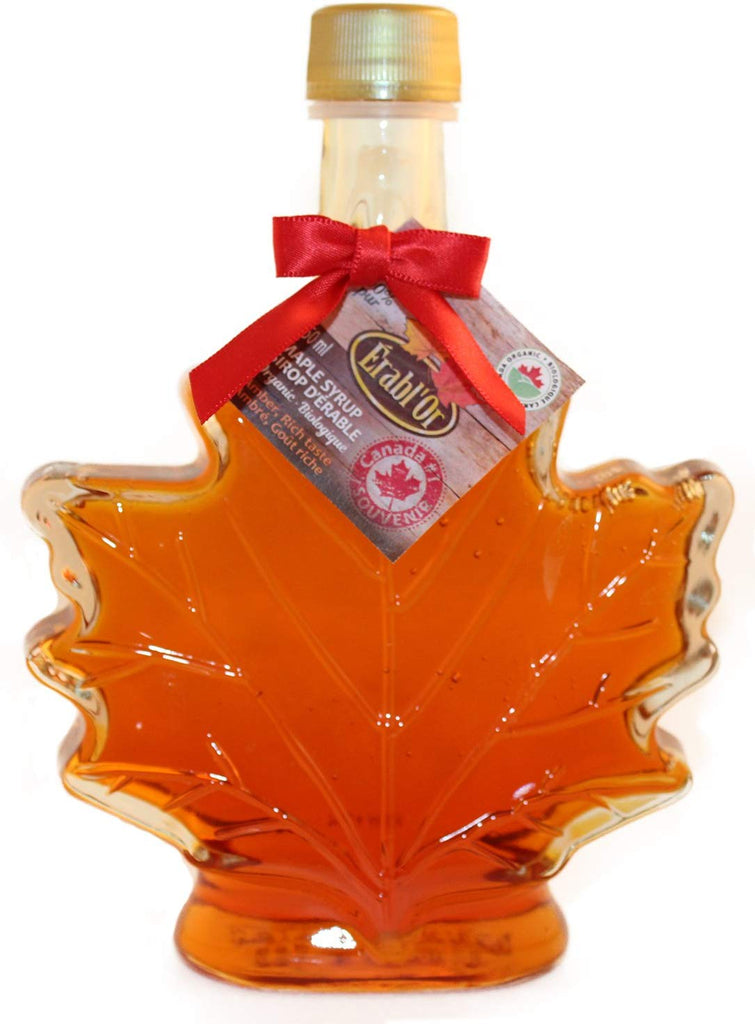 100% Pure Organic Maple Syrup - Canada Grade A. Amber - Glass Leaf Bottle