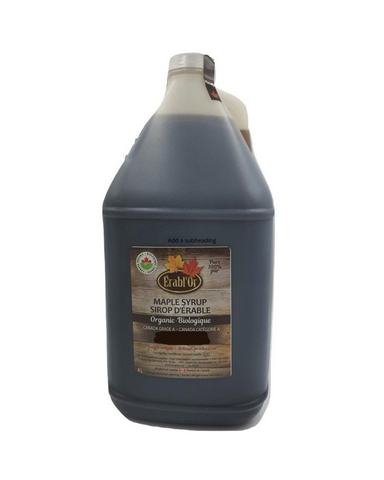 100% Pure Maple Syrup - Grade A. Very Dark - 4L Plastic Jug