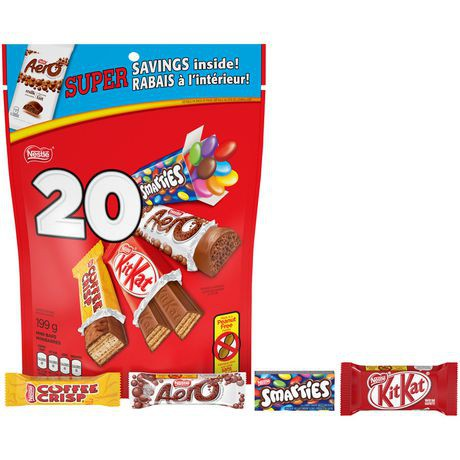 Nestle FAVOURITES Snack Size Kit Kat, Aero, Coffee Crisp, Smarties 199 grams (Pack of 20)