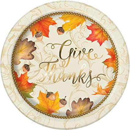 Thanksgiving Give Thanks Metallic Plate 8""