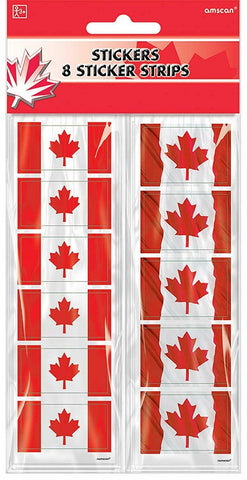 Canada Flag Stickers - 8 sticker Strips