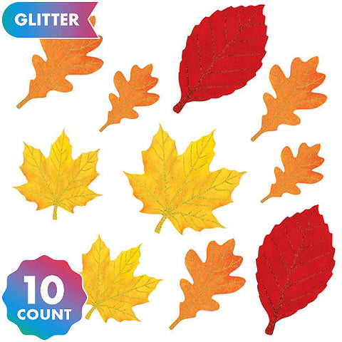 Fall Leaves Glitter CutoutS-10PK
