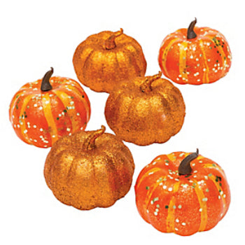 Mini Glittering Pumpkin Decorations 6pk