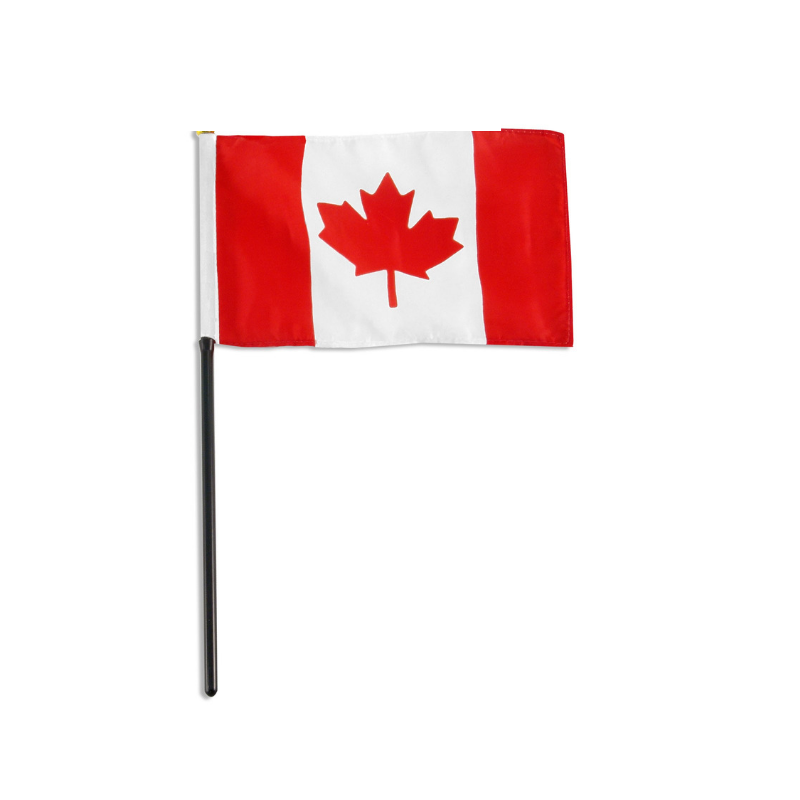 "Canadian Flag on Stick 4"" x 6""  - 4 pack"