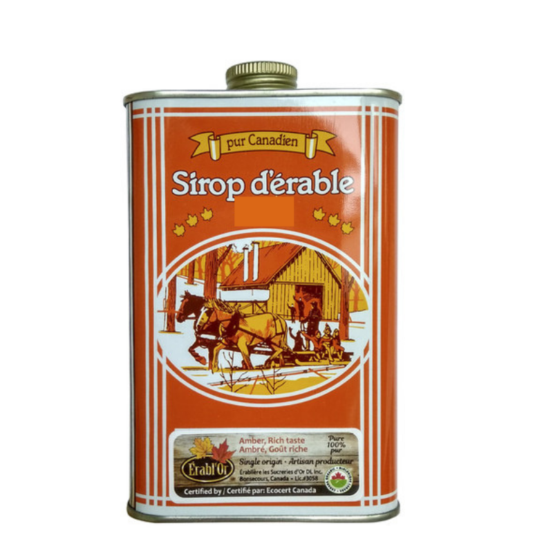 Erabl'Or 100% Pure Maple Syrup - Canada Grade A. Amber - 500mL Tin