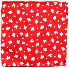 Bandana Maple Leaf Pattern (White Leaf on Red)-O Canada