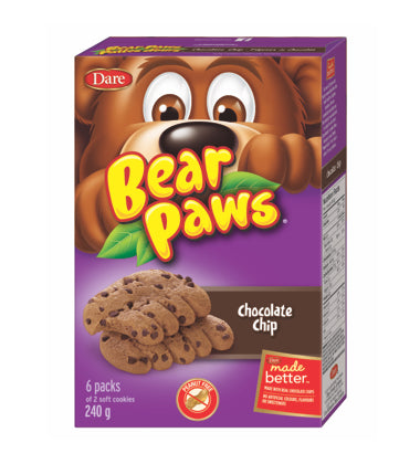 Dare Bear Paws - Chocolate Chip 240g -6Pack