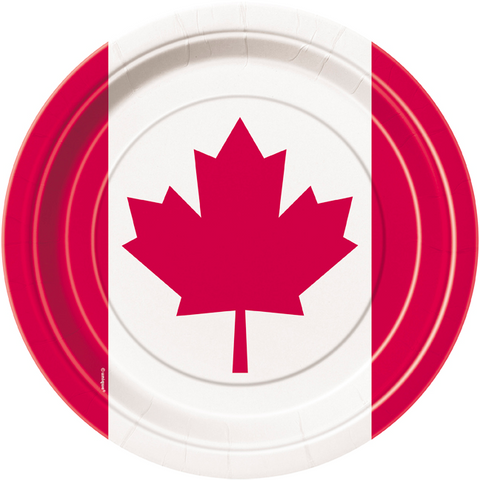 "Canadian Flag - 9"" dinner Plates -8pk-O Canada"