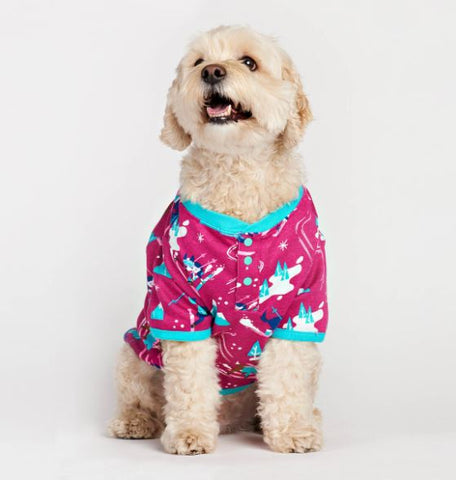 Retro Ski Dogs Pink Dog Pajama