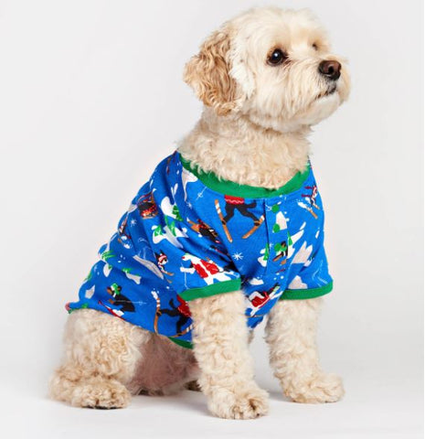 Retro Ski Dogs Blue Dog Pajama