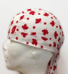 Bandana - Skull Cap Red on White-O Canada