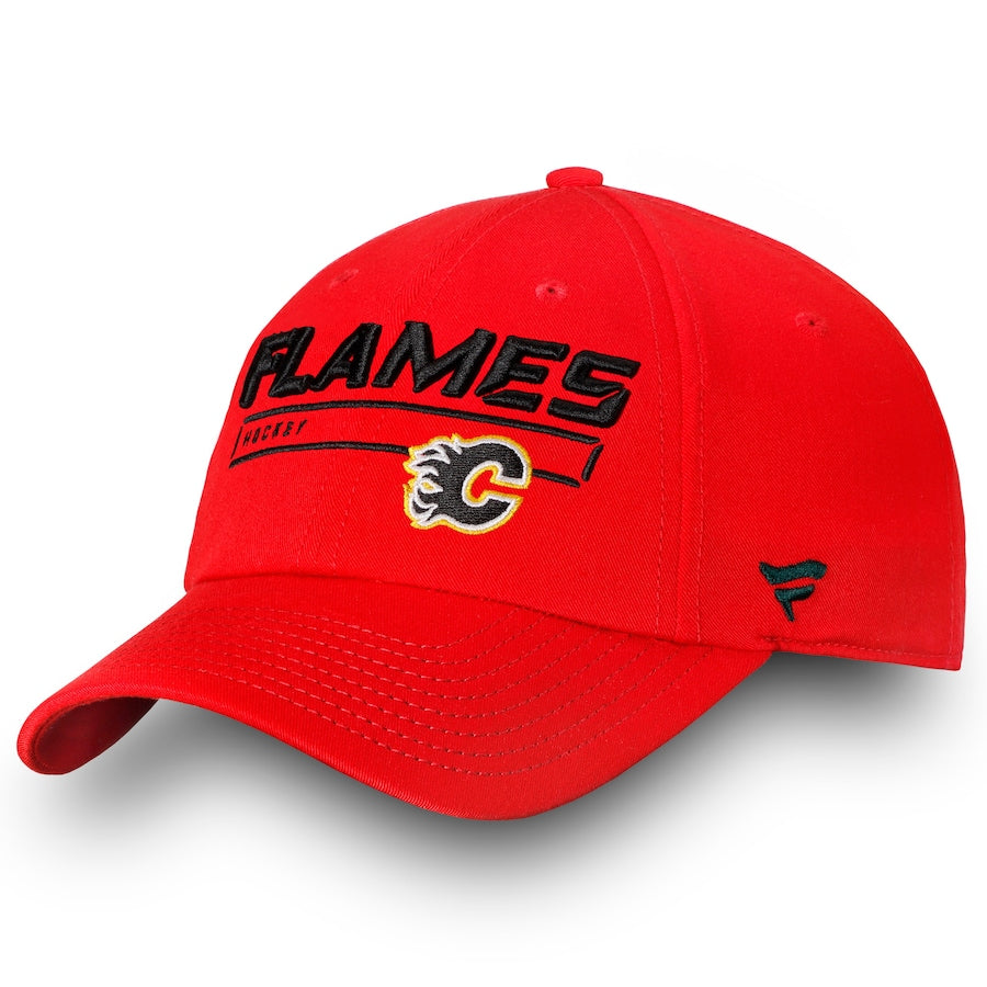 Calgary Flames Fanatics Branded Red Authentic Pro Rinkside Fundamental - Adjustable Hat
