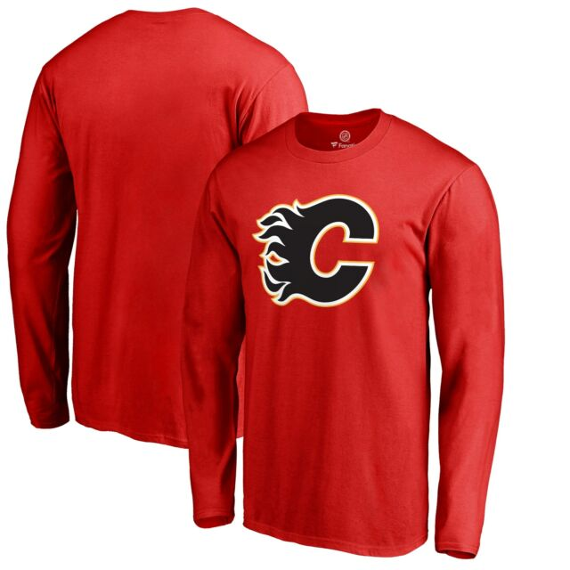 Men's Calgary Flames Fanatics Branded Red Primary Logo - Long Sleeve T-Shirt