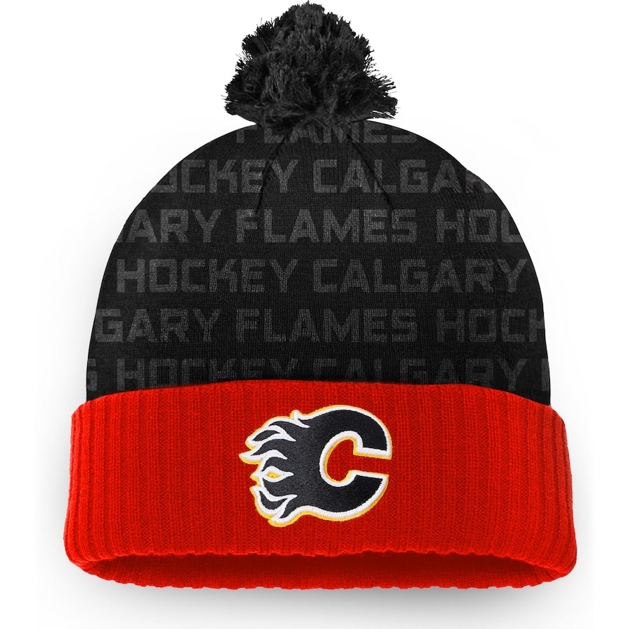 Calgary Flames Fanatics Branded Red Authentic Pro Rinkside - Cuffed Knit Hat with Pom