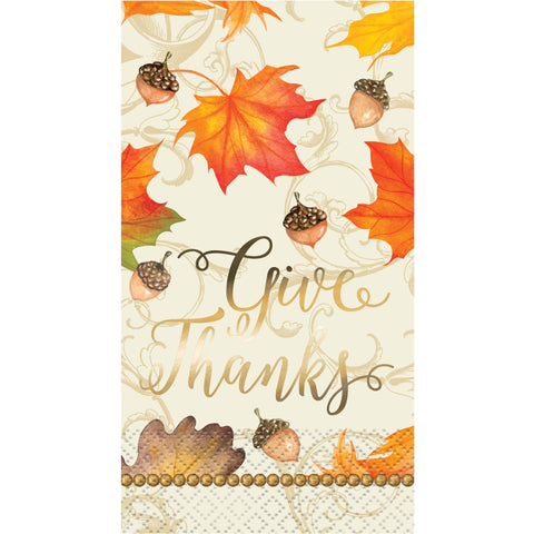 Thanksgiving -Give Thanks Metalic Napkins-O Canada