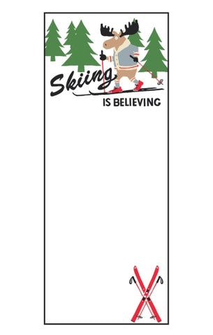 "Magnetic Hatley Notepad - ""Skiing is Believing"""