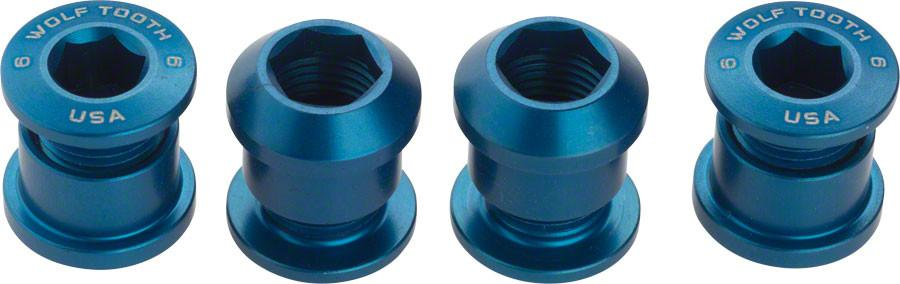 Wolf Tooth Components Set of 4 Chainring Bolts for 1x use, Dual Hex Fittings, Blue