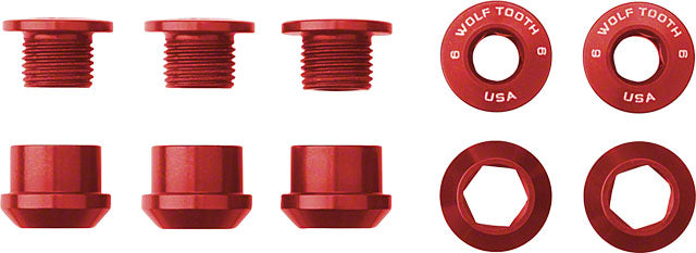 Wolf Tooth Set of 5 Chainring Bolts for 1x use, Dual Hex Fittings, Red