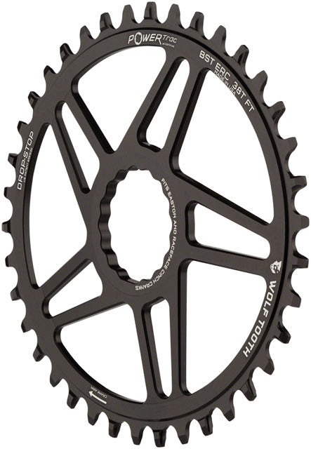Wolf Tooth Elliptical Direct Mount Chainring - 38t, RaceFace/Easton CINCH Direct Mount, 3mm Offset, Drop-Stop, Flattop Compatible, Black