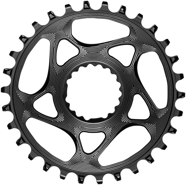 absoluteBLACK Round Narrow-Wide Direct Mount Chainring - 30t, Cannondale Hollowgram Direct Mount, 4mm Offset, Black