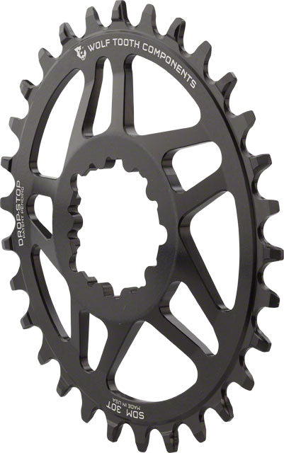 Wolf Tooth Elliptical Direct Mount Chainring - 30t, SRAM Direct Mount, Drop-Stop, For SRAM 3-Bolt Cranksets, 6mm Offset, Black