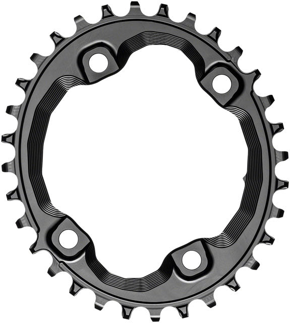 absoluteBLACK Oval 96 BCD Chainring for Shimano XT M8000 - 32t, 96 Shimano Asymmetric BCD, 4-Bolt, Narrow-Wide, Black