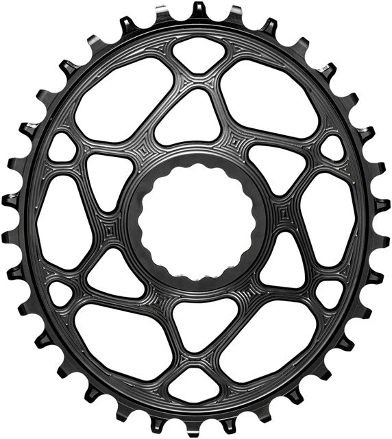 absoluteBLACK Oval Direct Mount Chainring - 34t, CINCH Direct Mount, 3mm Offset, Requires Hyperglide+ Chain, Black