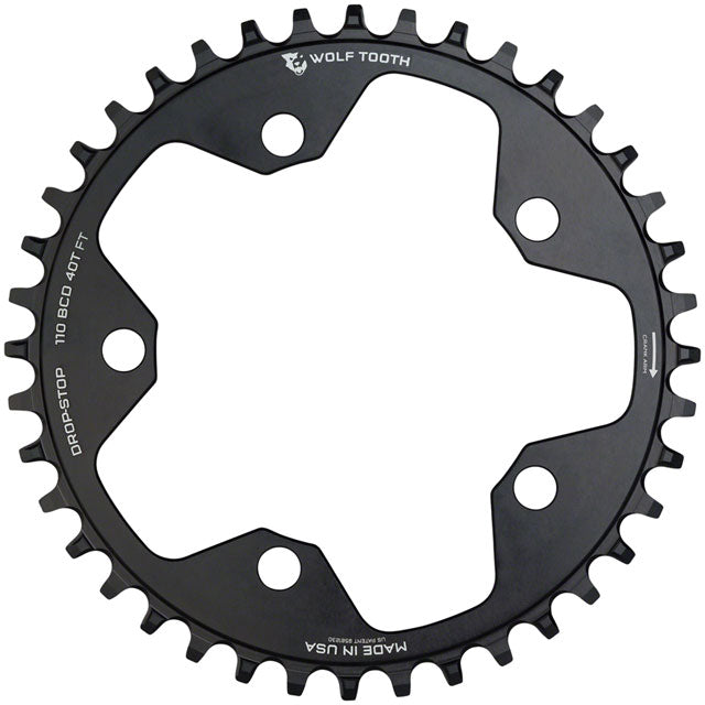 Wolf Tooth 110 BCD Cyclocross and Road Chainring - 34t, 110 BCD, 5-Bolt, Drop-Stop, 10/11/12-Speed Eagle and Flattop Compatible, Black