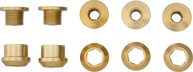Wolf Tooth 1x 6mm Chainring Bolt: Gold, Set of 5, Dual Hex Fittings