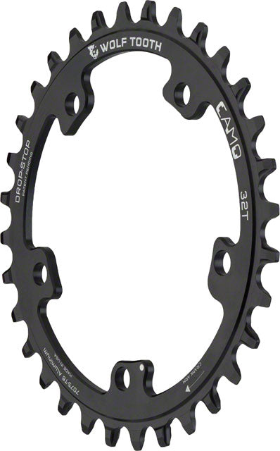 Wolf Tooth CAMO Aluminum Chainring - 32t, Wolf Tooth CAMO Mount, Drop-Stop, Black