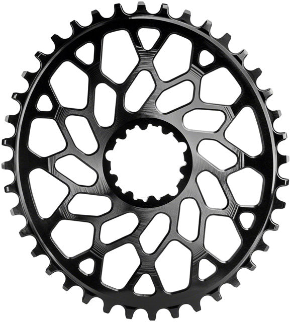 absoluteBLACK Oval Narrow-Wide Direct Mount Chainring - 46t, SRAM 3-Bolt Direct Mount, 6mm Offset, Black