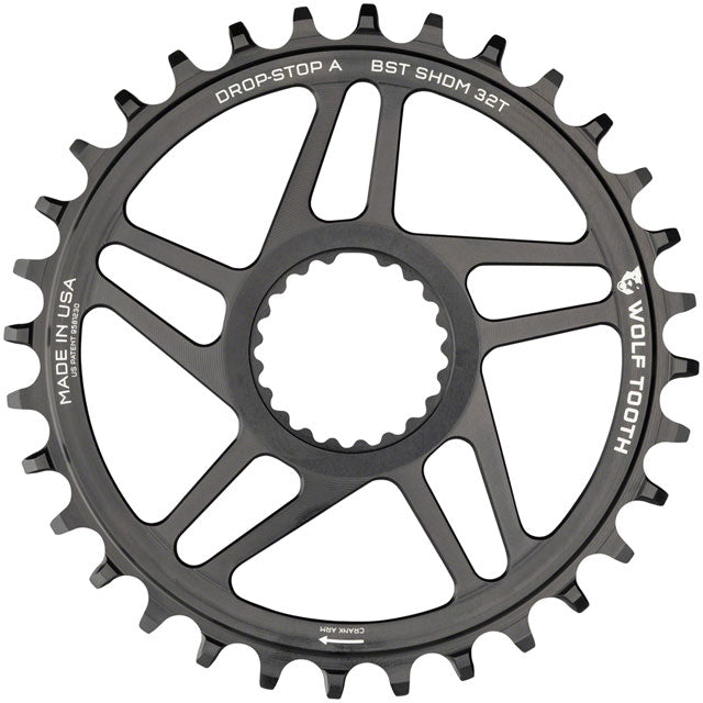 Wolf Tooth Direct Mount Chainring - 32t, Shimano Direct Mount, Drop Stop A, Boost, 3mm Offset, Black