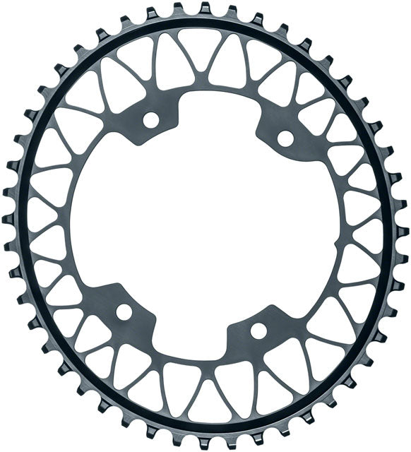 absoluteBLACK Oval 110 BCD Gravel Chainring - 50t, 110 Shimano Asymmetric BCD, 4-Bolt, Narrow-Wide, Gray