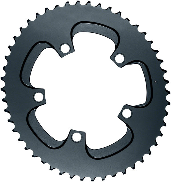 absoluteBLACK Silver Series Oval 110 BCD Outer Chainring - 52t, 110 BCD, 5-Bolt, Gray