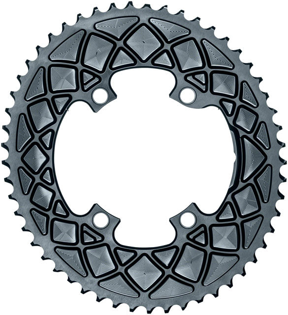absoluteBLACK Premium Oval 110 BCD Road Outer Chainring for Shimano Dura-Ace 9100 - 50t, 110 Shimano Asymmetric BCD, 4-Bolt, Gray