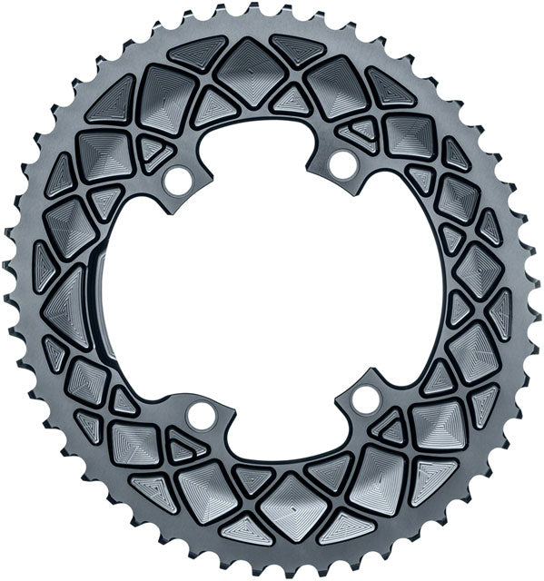 absoluteBLACK Premium Oval 110 BCD Road Outer Chainring for Shimano Dura-Ace 9100 - 53t, 110 Shimano Asymmetric BCD, 4-Bolt, Gray